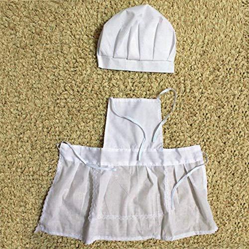 Rouku Nettes Baby-Weiß-Kochkostüm-Foto-Fotografie-Prop-Outfit Neugeborener Hut Schürze Chefkoch Kleidung DIY Funning Requisiten für Kinder