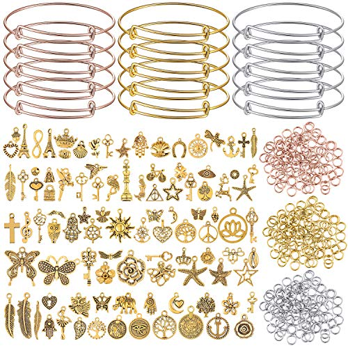 100 Pieces Gold Charms Pendants with 15 Pieces Expandable Bangle Bracelets Adjustable Wire Bangles Blank Bracelets, 300 Pieces Open Jump Rings for DIY Jewelry Making