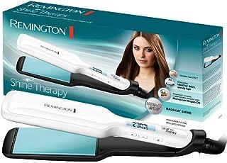 Remington Shine Therapy S8550 - Plancha de Pelo, Aceite de Argán, Cerámica, Digital, Placas Anchas, Resultados Profesionales, Blanco