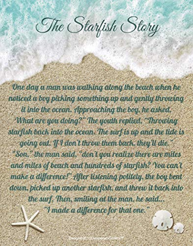 The Starfish Story. You Can Make A Difference. Motivational Poster 11x14