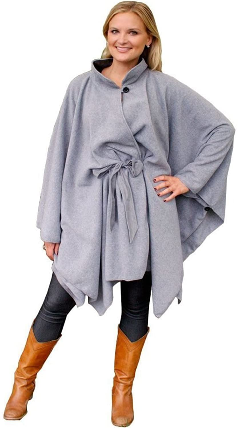 35 Below Town & Country Cape w  Faux Suede Belt (Grey, S M)