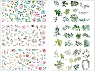 SUPVOX 2 UNIDS Scrapbook Sticker Follaje Hojas Flores DIY Álbum de Fotos Decoración DIY Diario Album Stick Etiqueta Scrapbooking Sticker (Cien Flores y una Hoja)