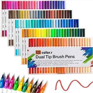 Marqueur surligneur 120 couleurs surligneurs à deux têtes Marker Pen Art Pinceau Aquarelle double pointe Stylos pour l'éco...