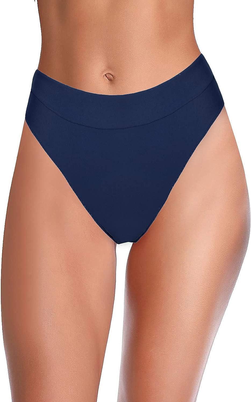 Hilor Women's High Waisted Bikini Bottom High Cut Swim Briefs Cheeky Brazilian Swimsuits Bottom