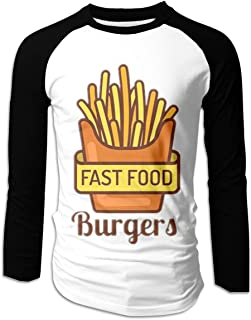 Eyscar Men Logo of Fast Food Cotton Baseball Raglan Long Tee