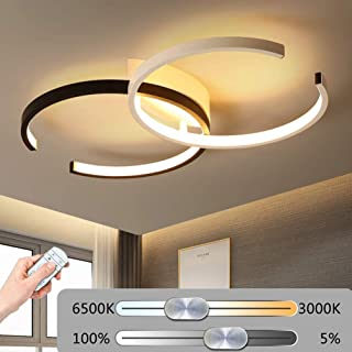 LED Ceiling Light,Modern Design Art Deco Dimmable with Remote Transitional Chandelier Acrylic Flushmount Ceiling Fixture in White and Black Finish for Living Room, Kids Bedroom