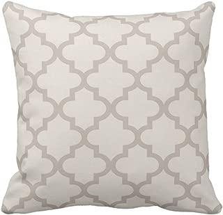 Emvency Throw Pillow Cover Patterned Moroccan Quatrefoil Pattern Beige and Trellis Decorative Pillow Case Home Decor Square 16 x 16 Inch Pillowcase