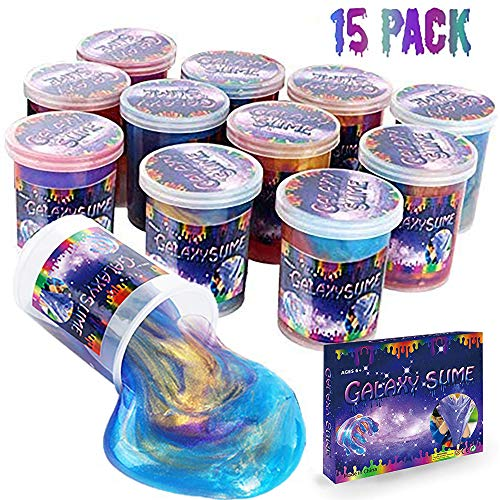 Consepcion Marbled Unicorn Color Slime - 15 Pack Colorful Galaxy Sludge - Gooey Fidget Set for Sensory and Tactile Stimulation, Stress Relief, Silly Slime Unicorn Party Favor, Educational Game