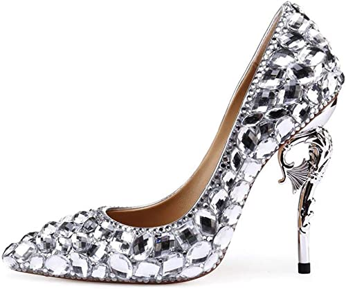 MISS&YG Mode Haut De Gamme De Chaussures Chaussures Femmes en Cuir Hippocampus Grand Diamant à Talons Hauts Pointues Bouche Peu Profonde Mariée Chaussures De Mariage Chaussures De Couture Chaussures  confortable