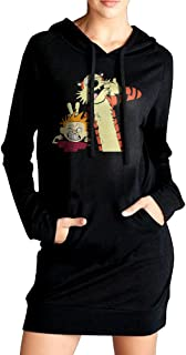 TsIffsion Womens Calvin And Hobbes Sexy V Neck Long Sleeve Cotton Hooded Hoodie/Sweatshirt Casual Dress