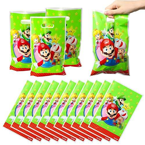 80 Piezas Mario Bros Bolsas de plástico para Fiesta Mario Bros Bolsas de Plástico para Fiestas Bolsas Plástico para Regalos con Asas Mario Patrón para Fiesta de cumpleaños Celebraciones de día Festivo