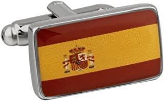 Flag Spain Pair Cufflinks in a Presentation Gift Box & Polishing Cloth