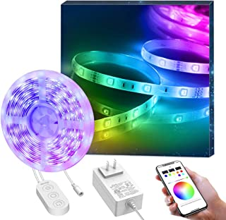 Minger Led Strip Lights Music Sync, 16.4ft Color Changing Light Strip Bluetooth APP Control, SMD 5050 Waterproof RGB Led Tape Lights for Dorm Room Bar Party Christmas Decoration
