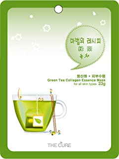 緑茶 コラーゲン エッセンス マスク THE CURE シート パック 100枚セット 韓国 コスメ 乾燥肌 オイリー肌 混合肌