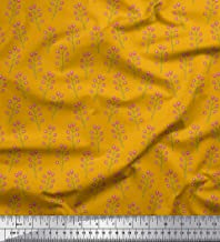 Soimoi Gold Velvet Fabric Red Berries Fruits Fabric Prints by Yard 58 Inch Wide