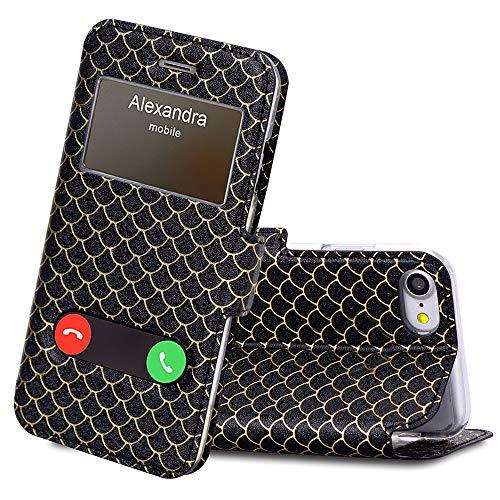 FYY Lederhülle für iPhone SE 2020/ iPhone 7(4.7''),Fenster-Ansicht Magnetisch Schutzhülle mit Standfunktion Handy Hüllen für iPhone 7 iPhone SE flip case -Pattern Schwarz