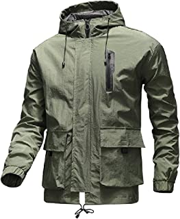 CRYYU Mens Lightweight Full Zip Windproof Windbreaker Slim Fit Solid Color Jacket