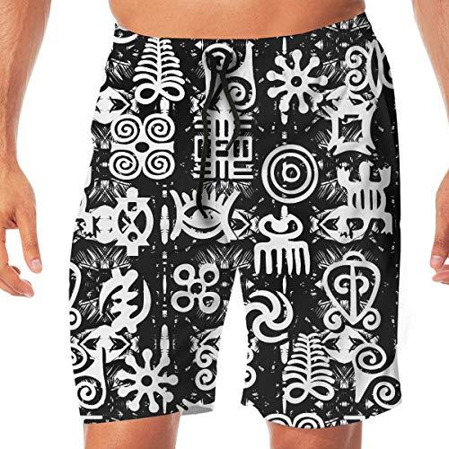 Afrikaanse Retro Tekst Zwart Wit Snel Droog Elastische Kant Boardshorts Beach Shorts Broek Zwembroek Trunks Badpak met Zakken.
