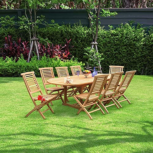 Teakwood Dining Set | Double extendable & Round Dining table with 8 Folding Chairs Ideal for Outdoor (BOSTON TEAK DINING SET (8 Hanton Folding Chairs with Double Extendable Table))