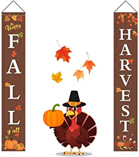 Idefair Fall Harvest Banners,Thanksgiving Maple Leaf Pumpkin Vetical Flat Outdoor Indoor Decorations Welcome Porch Sign Hanging for Home Wall Door Yard Holiday Party Decor (Brown-Thanksgiving Banner)