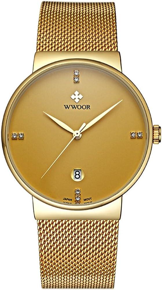 WWOOR Reloj de pulsera para hombre con correa de malla ultra fina de acero inoxidable y fecha (dorado)