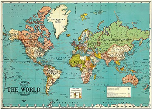 Cavallini Decorative Wrap Poster, World Map 4, 20 x 28 inch Italian Archival Paper (WRAP/MAPWRD4)