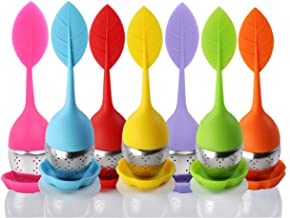 Bekith Tea Infuser - Set of 7 Silicone Handle Stainless Steel Strainer Drip Tray Included - Loose Tea Steeper - Best Tea I...