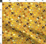 Wabe, Bienen, Golden, Sechsecke Stoffe - Individuell