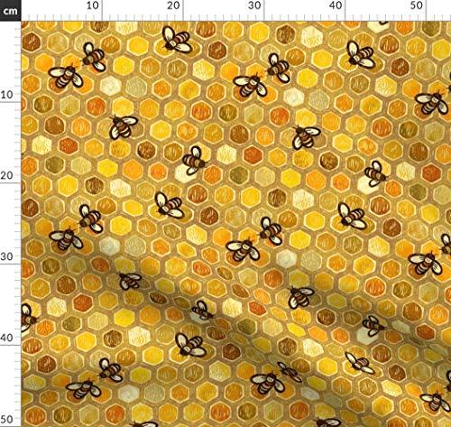 Wabe, Bienen, Golden, Sechsecke Stoffe - Individuell Bedruckt von Spoonflower - Design von Stitchyrichie Gedruckt auf Baumwollstoff Klassik