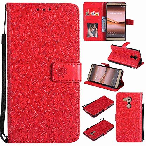 pinlu® PU Leder Tasche Handyhülle Für Huawei Ascend Mate 8 (6zoll) Smartphone Wallet Hülle Mit Standfunktion und Kartenfach Design Rattan Blume Prägung Rot