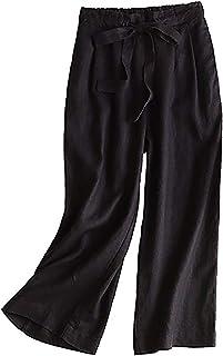 KEIMI レディース リネン ロングパンツ ワイド パンツ 無地 ウェストゴム ドロスト プリーツ入り ゆったり カジュアル きれいめ ワイドパンツ ズボン カジュアルパンツ おしゃれ ゆったり 涼しい 春 夏