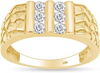 Men's 1/2 Carat Round Cut White Natural Diamond Channel-Set Nugget Ring In 10k Solid Gold Jewelry For Mens Engagement Wedd...
