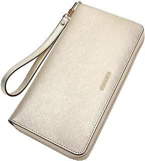 Women's Wallet Leather Clutch Bag Multifunction Mobile Phone Bag Wallet Purse Candys house (Color : Gold, Size : 20 * 11 * 2cm)