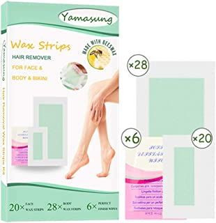 Yamasang Wax Strips, Hair Removal Strips for Face Full Body Leg Eyebrow Bikini Brazilian Underarm Women men, Waxing Strips with 48 Count Double Size Cold Wax Strips And 6 Post Care Wipes (L54)