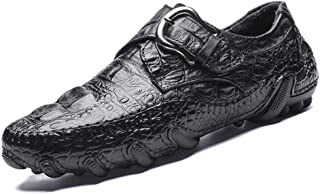 HaiNing Zheng Casual Loafer for Men Strong Antislip Business Oxford Crocodile Pattern Genuine Leather Stitching Buckle Closure (Color : Black, Size : 8.5 UK)