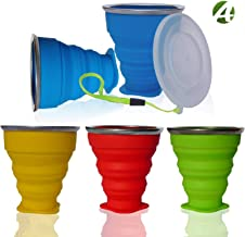 AVALEISURE Collapsible Silicone Travel Cup - The Genuine 10oz Foldable Drinking Mug with Lid, BPA Free, Water, Coffee, Tea, Snacks for Hiking, Camping, Picnic