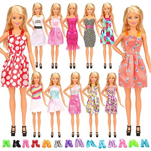 Miunana Lot 22 = 12 Fashion Kleider Kleidung + 10 Paar Schuhe für 11,5 Zoll Mädchen Puppen Kindertag Geschenk