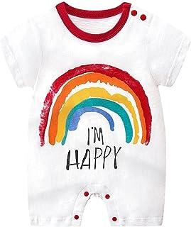للجنسين طفل كم قصير جذاب رومبير صيف رضيع أولاد الفتيات بذلة قطعة واحدة 0-24 شهرًا (Color : White, Size : 90CM)