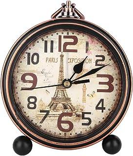 AUNMAS Vintage Desk Clock Rustic Metal Round Alarm Clock with Non Ticking Sweep Second Hand Bedside Clock for Bedroom Livi...