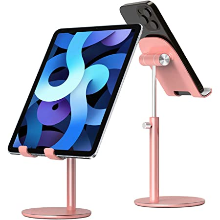 """Tablet Stand,iPad Stand Holder:WUWIVE Adjustable iPad Holder for Desk,Compatible with iPad 8,iPad Pro Air Mini and Other Tablets and Cell Phones Between 4""""-12.9"""""""