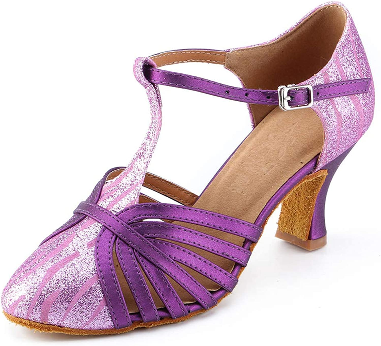 Honeystore Women's Glitter Sequin Ballroom Dance shoes Latin 1920s Mary Jane Prom Salsa Performance
