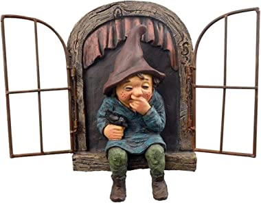 TAIYANYU Giggling GNOME Sitting on a Window sill, elf Out The Door Tree Hugger Yard Art Outdoor Resin GNOME Statue Garden déc