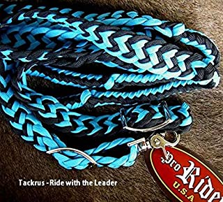 Roping Knotted Horse Tack Western Barrel Reins Nylon Braided Teal Black 60701