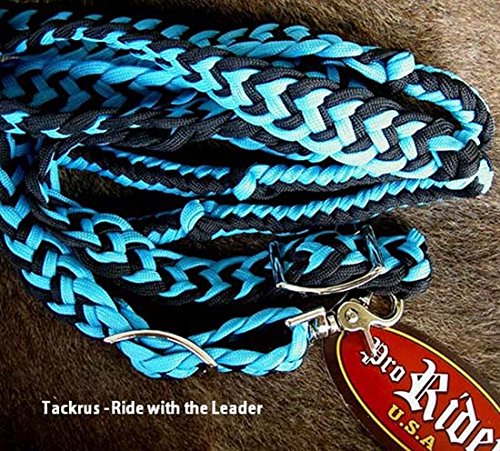 PRORIDER Roping Knotted Horse Tack Western Barrel Reins Nylon Braided Teal Black 60701