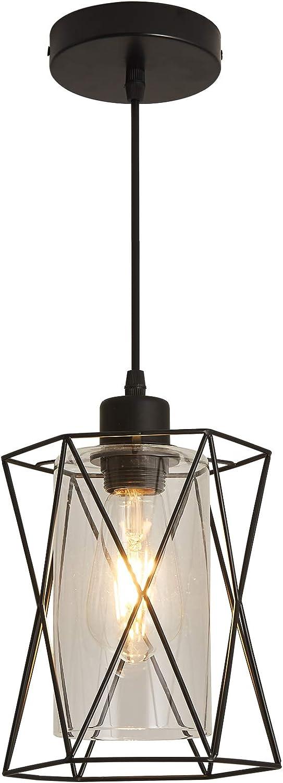 Pendant Light Fixture with Clear Glass Shape, Vintage Black Metal Cage Hanging Lights, Flush Mount Ceiling Lighting for Farmhouse, Kitchen Island, Living Room, Dining Room, Hallway, Bedroom