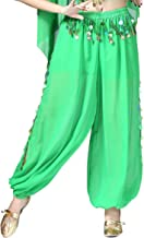 Whitewed Sheer Chiffon Belly Dance Harem Pants Bottoms with Leg Slits Side Tie