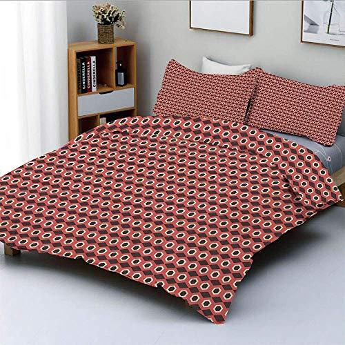 Juego de funda nórdica, patrón de mosaico de formas hexagonales con puntos elípticos en el interior sobre fondo marrón Juego de cama decorativo de 3 piezas con 2 fundas de almohada, marrón coral blanc