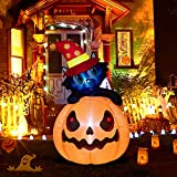 Twinkle Star 6 Ft Halloween Lighted Decorations Inflatables Pumpkin Cat Outdoor Indoor Holiday Decorations, LED Lights Animated Halloween Yard Prop, Giant Lawn Decorations