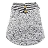 SMALLLEE_LUCKY_STORE Clothes for Girls Boys Striped Lapel Dog Coat Fleece Sweat Shirt Gray, Grey, Small
