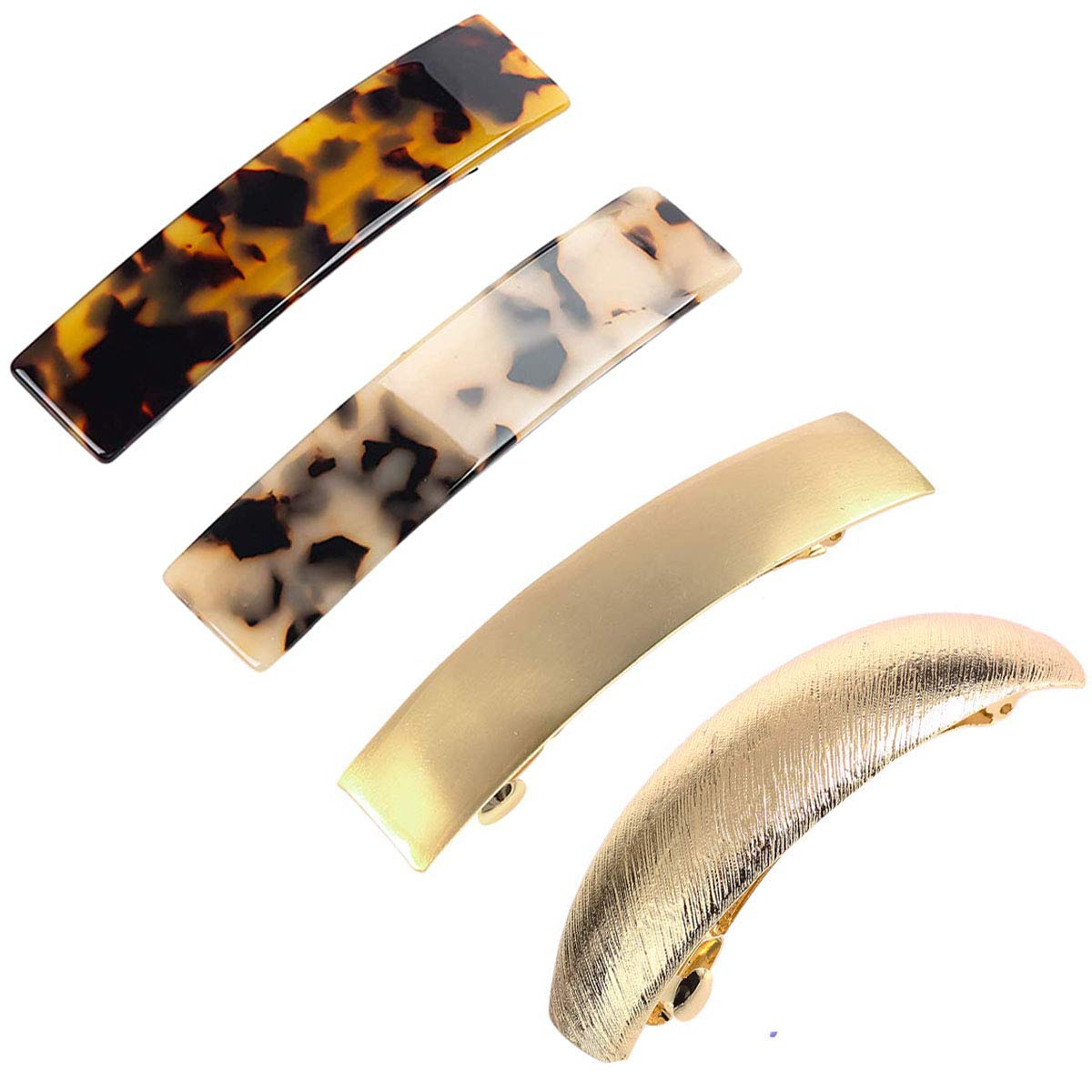 4 Pack Tortoise Shell Cellulose Acetate Acrylic Hair Barrettes Metail French Hair Pins Design Style Rectangular Automatic Hair Clip for Women Girls Gift